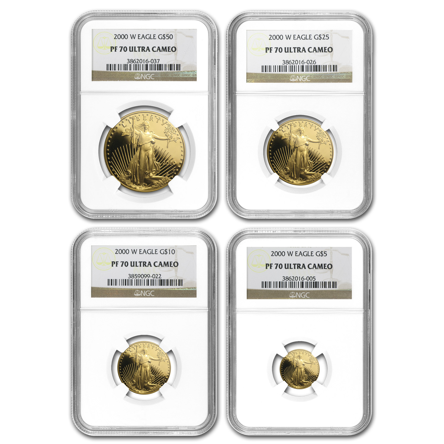 2000-W 4-Coin Proof Gold American Eagle Set PF-70 NGC