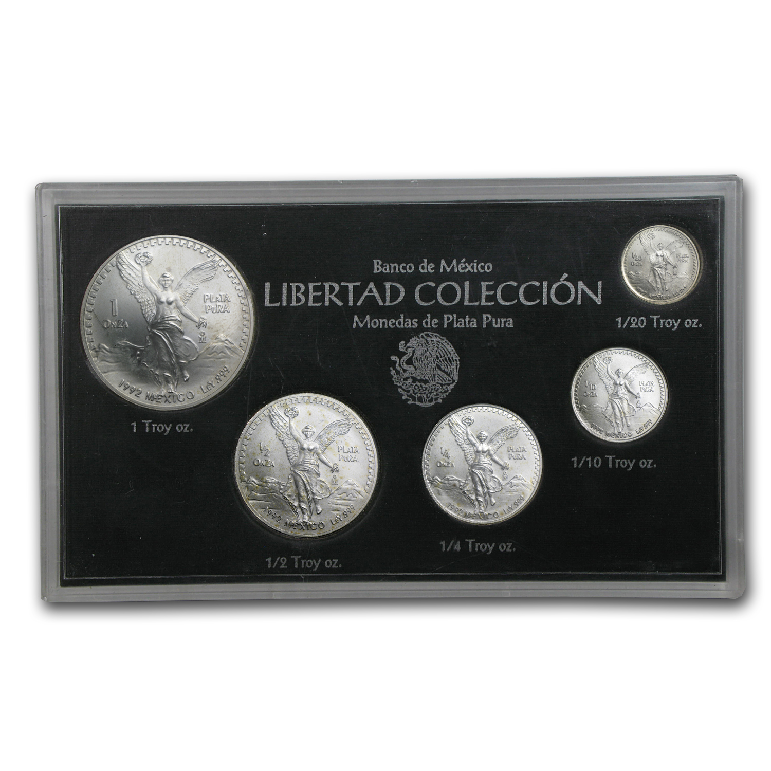 1992 1.9 oz Silver Mexican Libertad 5-Coin Set (BU)