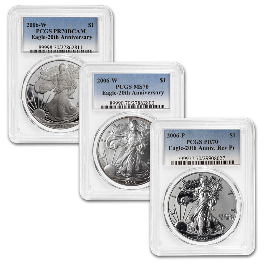 2006-W 3-Coin Silver Eagle Set MS/PR-70 PCGS
