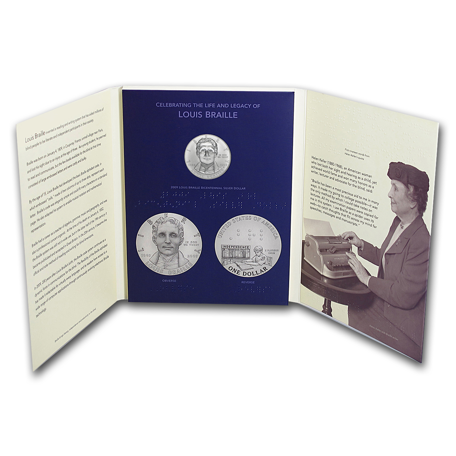 2009-P Louis Braille Education Set $1 Silver Commem BU (Booklet)