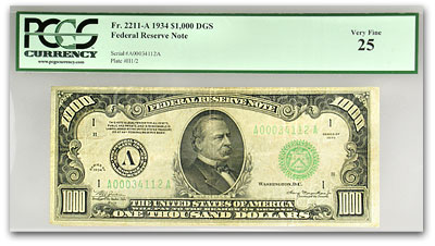 1934 (A-Boston) $1,000 FRN VF-25 PCGS