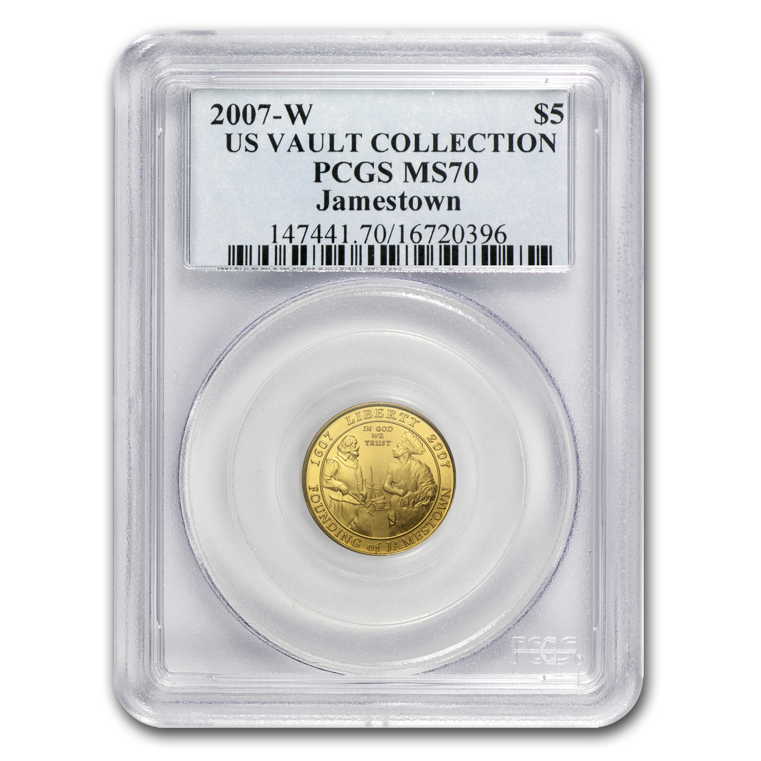 2007-W Gold $5 Commemorative Jamestown MS-70 PCGS