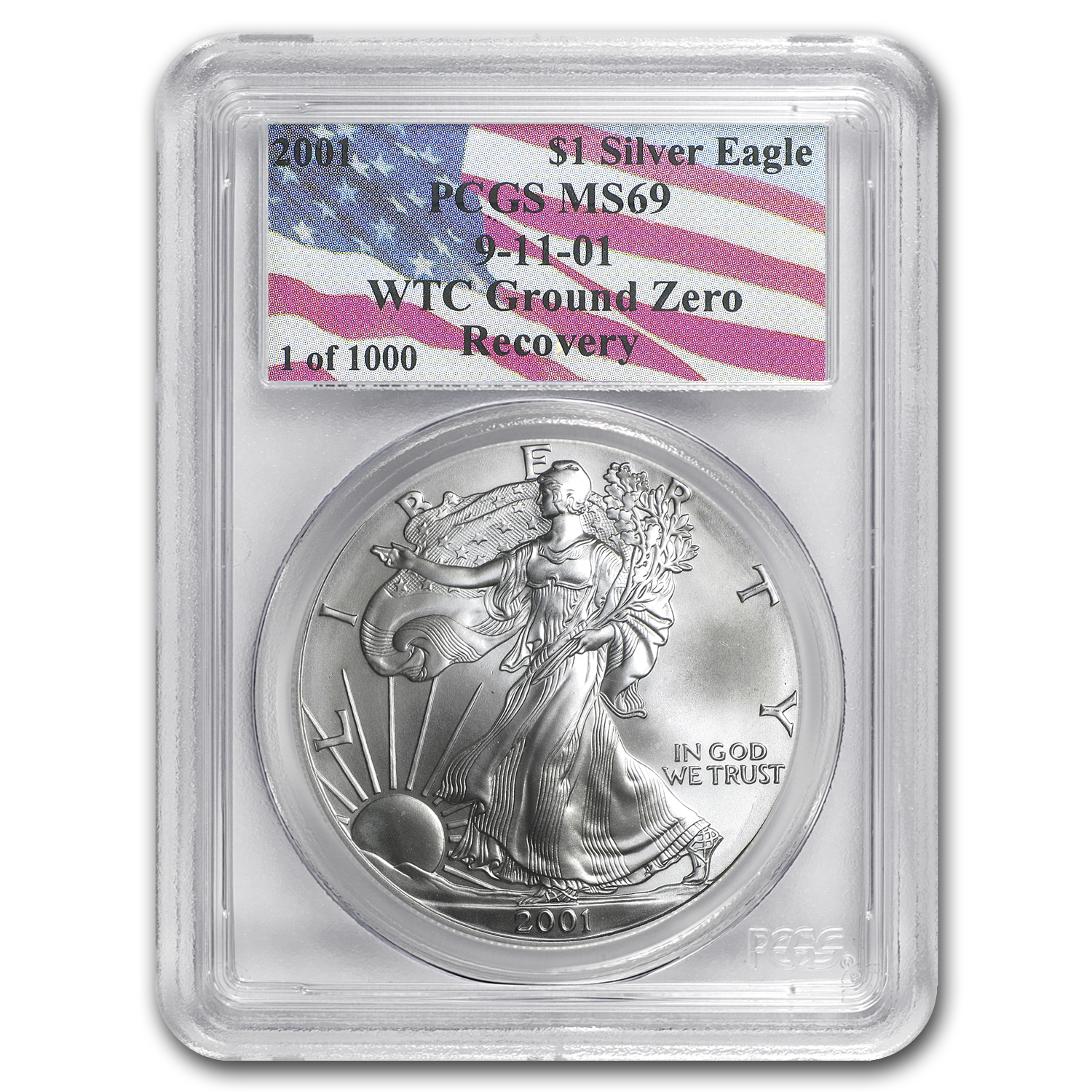 2001 Silver American Eagle MS-69 PCGS (World Trade Center)