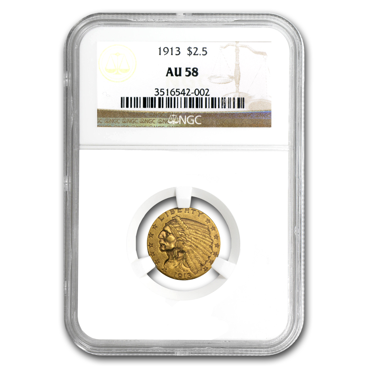1913 $2.50 Indian Gold Quarter Eagle AU-58 NGC