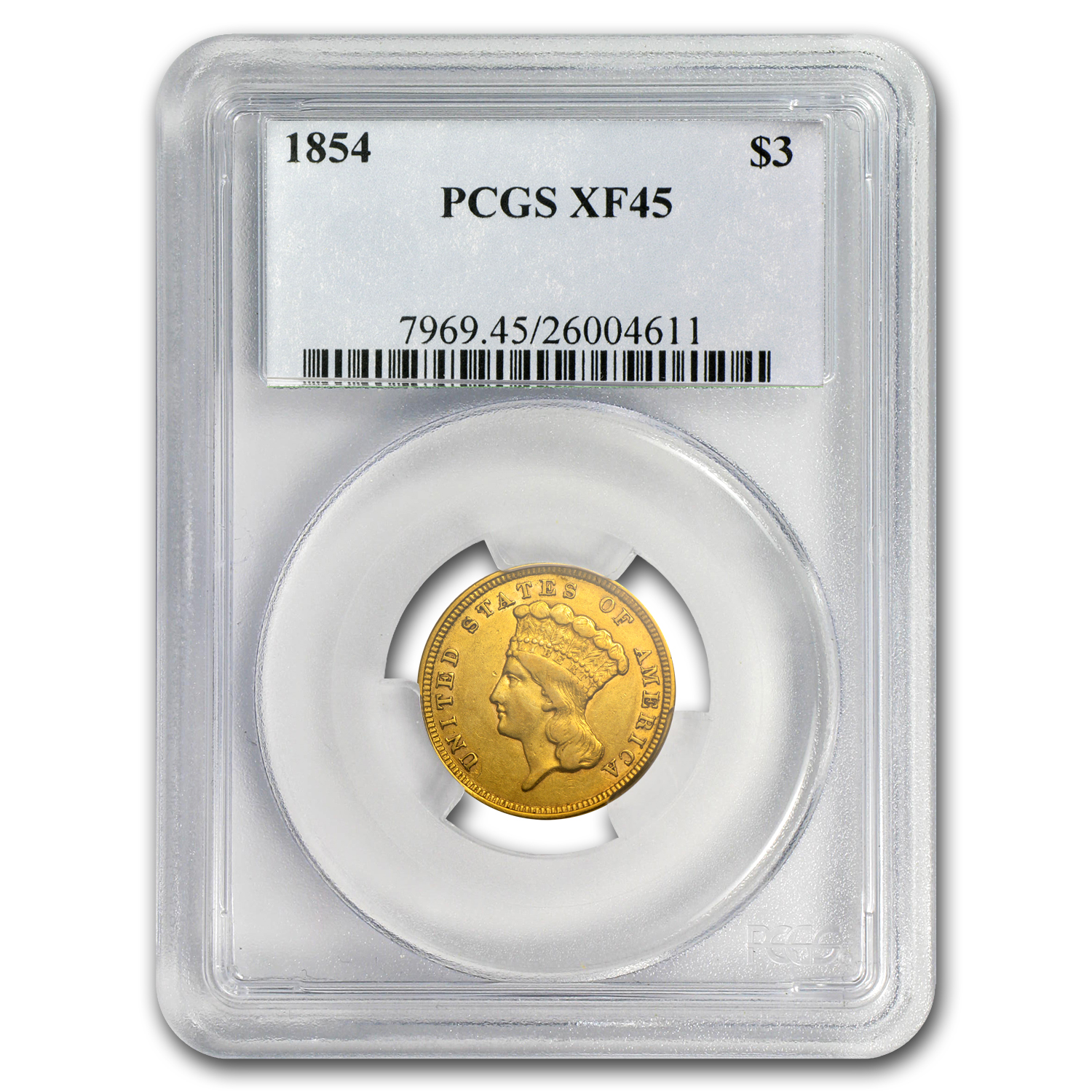 1854 $3 Gold Princess XF-45 PCGS