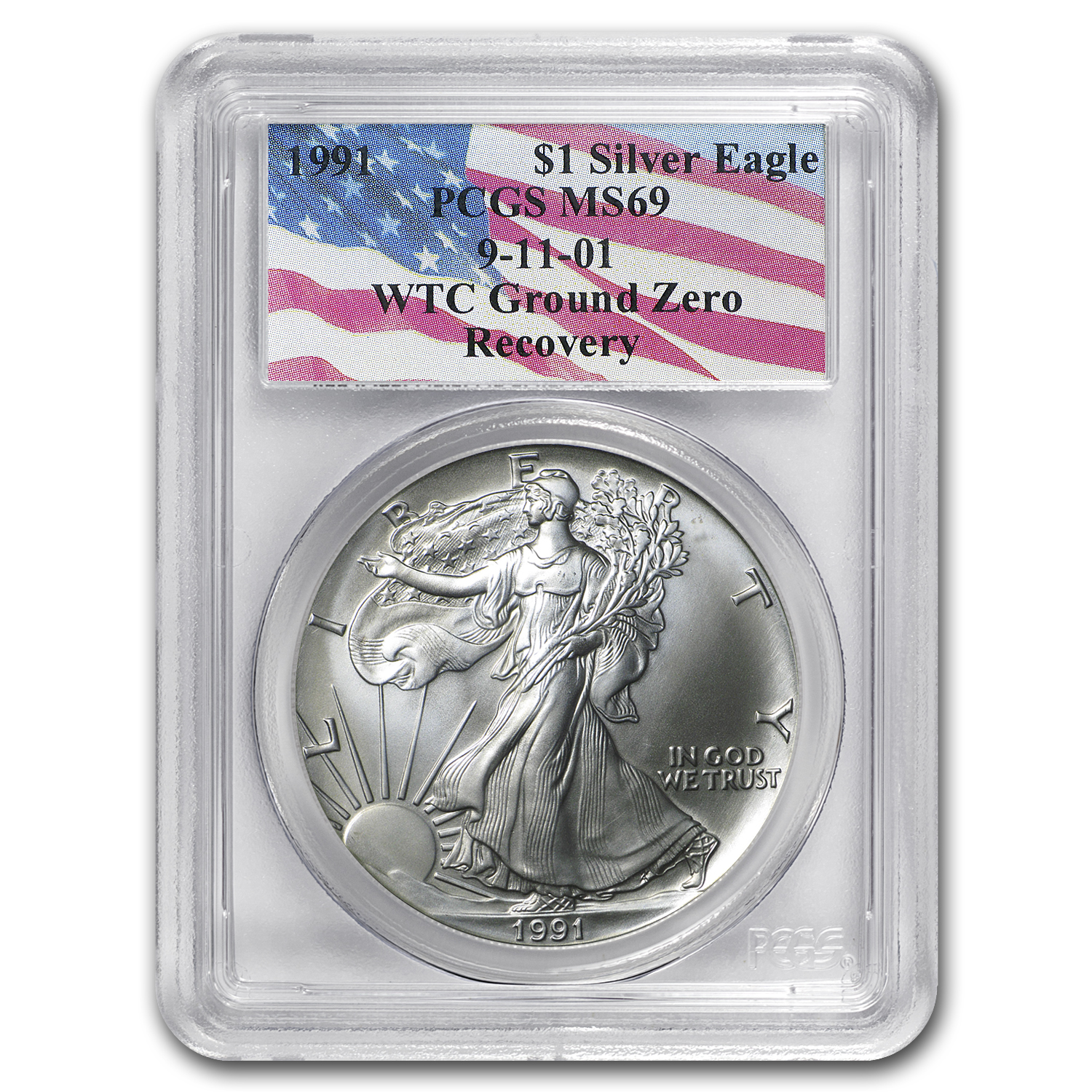 1991 Silver American Eagle MS-69 PCGS (World Trade Center)