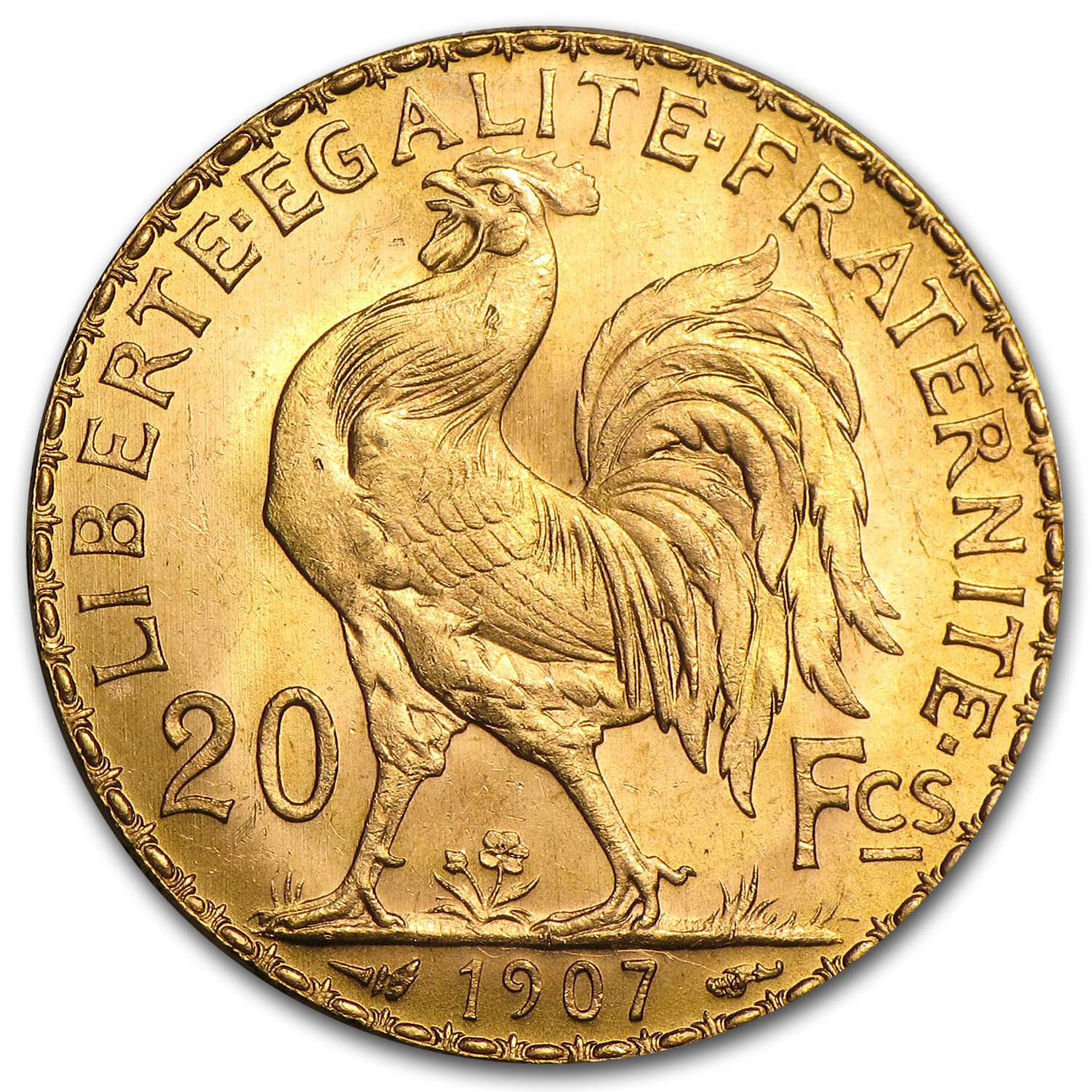 1899-1914 France Gold 20 Francs Rooster AU
