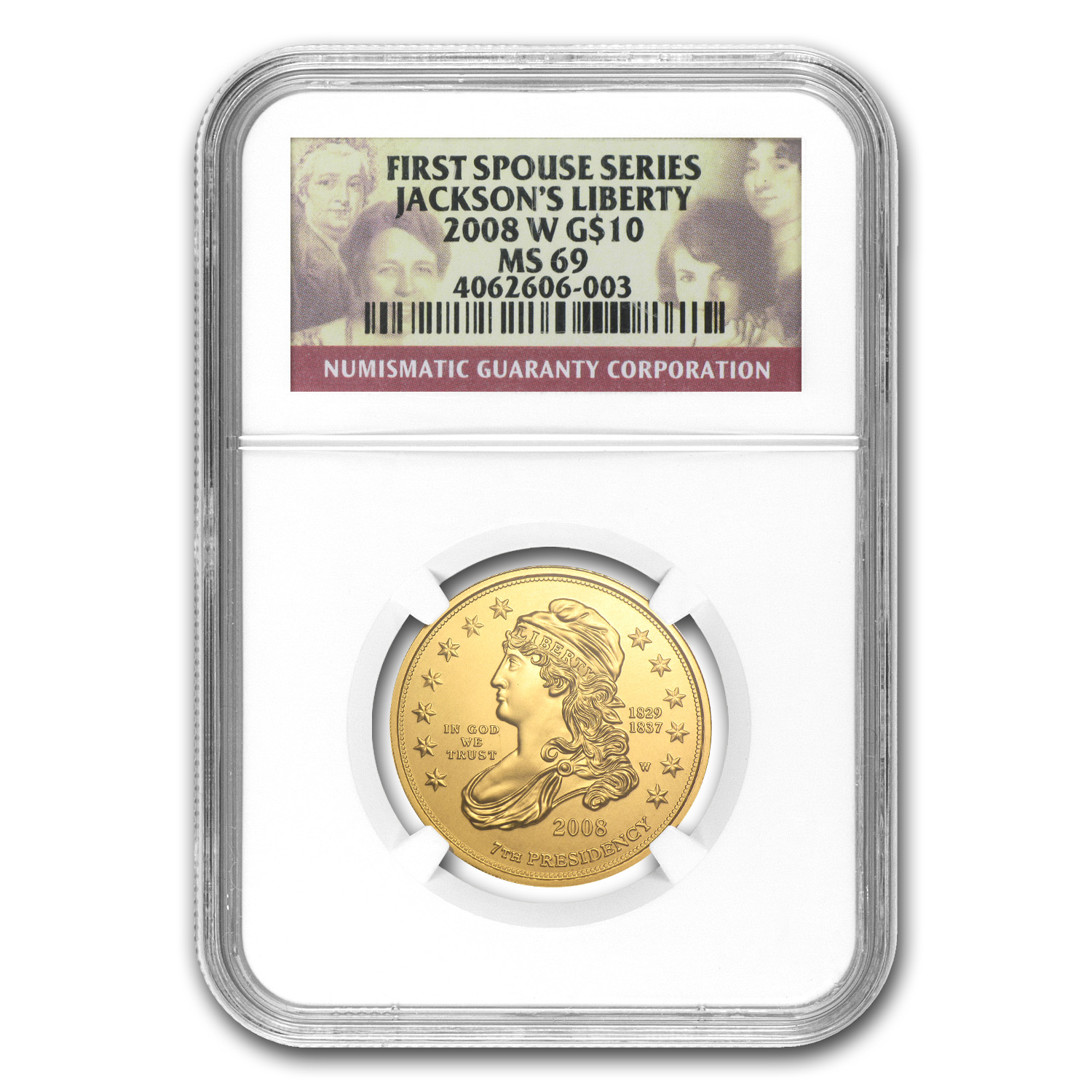 2008-W 1/2 oz Gold Jackson's Liberty MS-69 NGC