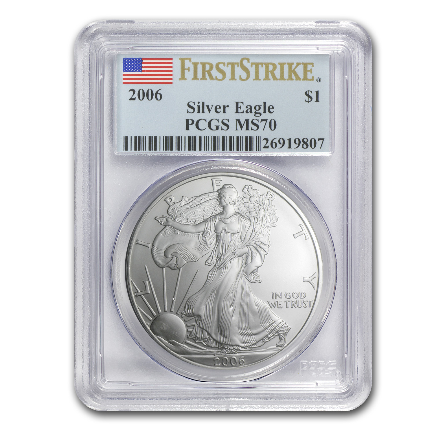 2006 Silver American Eagle MS-70 PCGS (1st Strike, Registry Set)