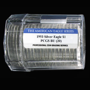 1993 Silver American Eagles - BU PCGS - 20-Coin Sealed Tube