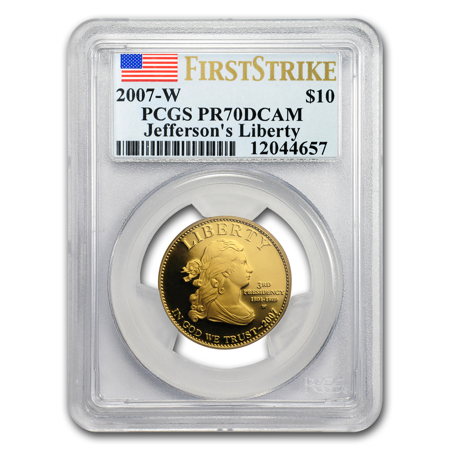 2007-W 1/2 oz Proof Gold Jefferson's Liberty PR-70 PCGS (FS)
