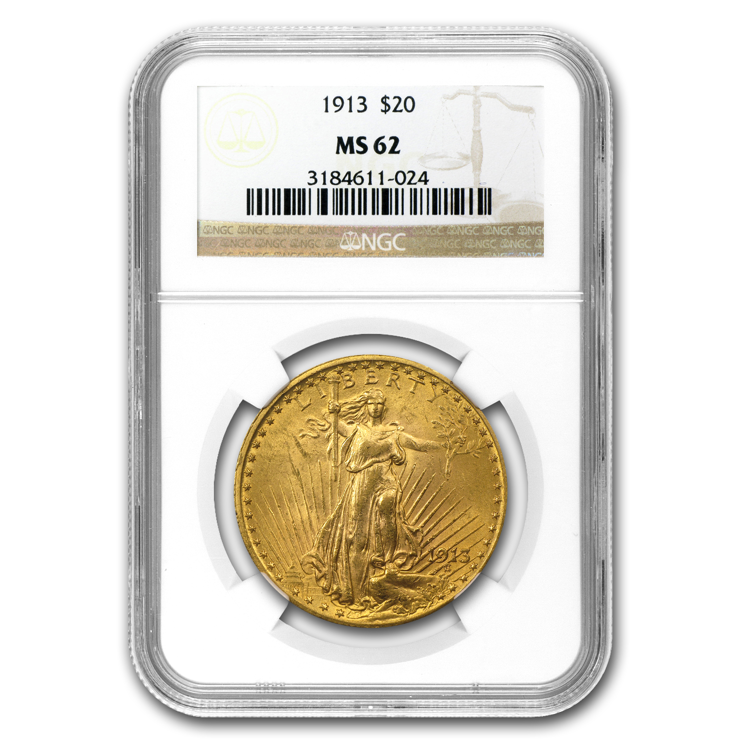 1913 $20 St. Gaudens Gold Double Eagle - MS-62 NGC