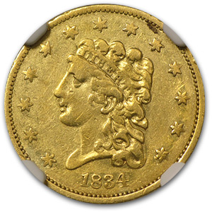 1834 $2.50 Gold Classic Head XF Details NGC (Cleaned)