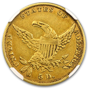 1834 $5 Gold Classic Head Half Eagle Plain 4 XF Details NGC