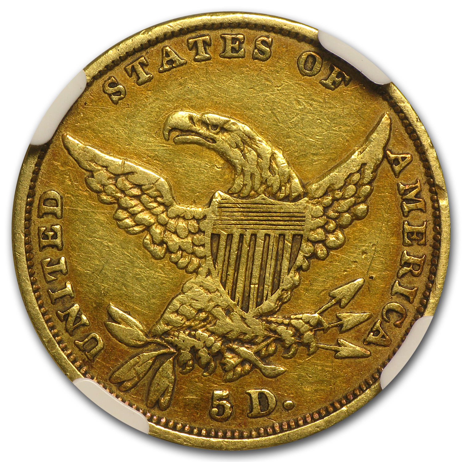 1834 $5 Gold Classic Head Half Eagle VF Details NGC (Rim Dmg)