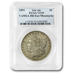1891 Morgan Dollar VF-35 PCGS (VAM-2A, Moustache, Top-100)