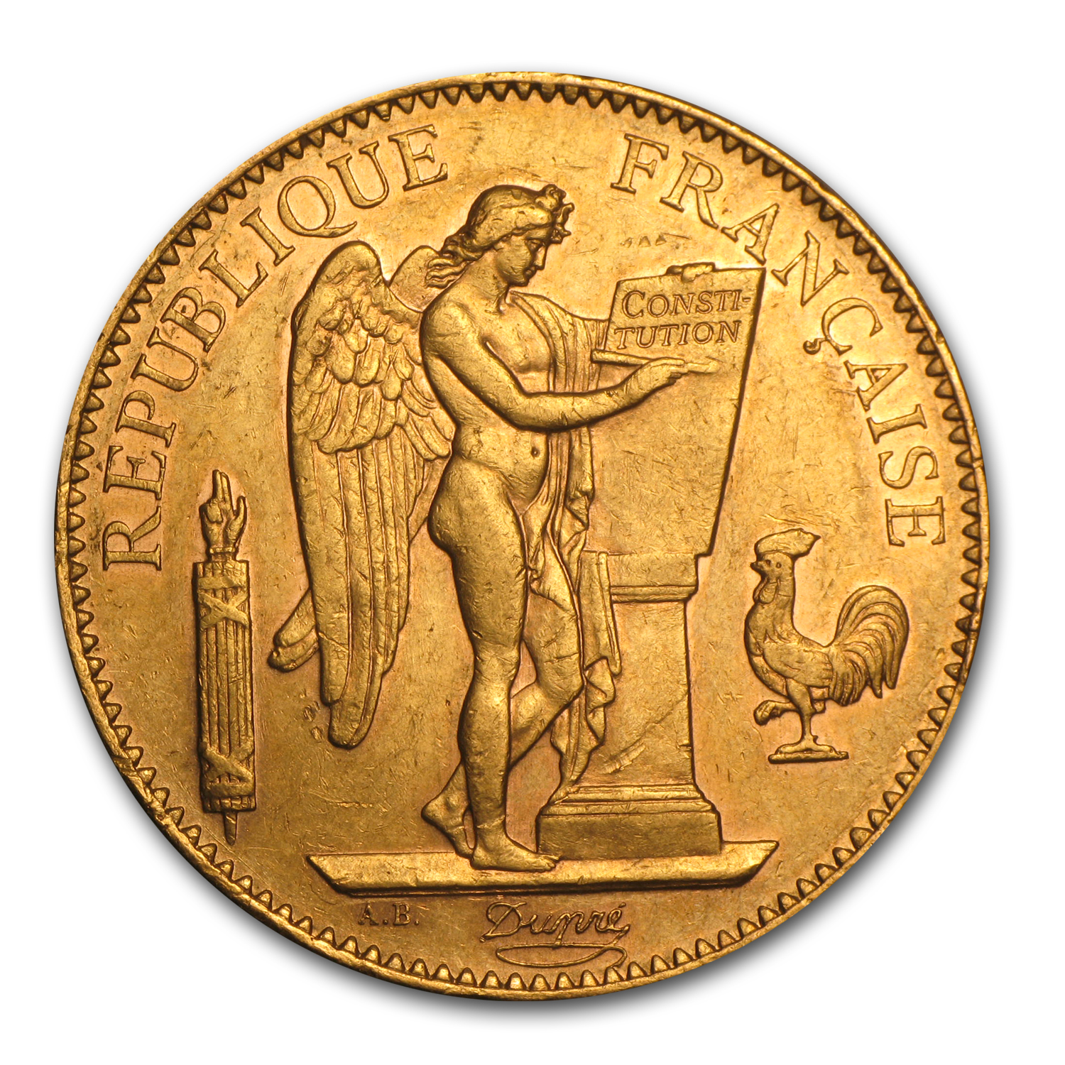 1878-1914 France Gold 100 Francs Lucky Angel XF