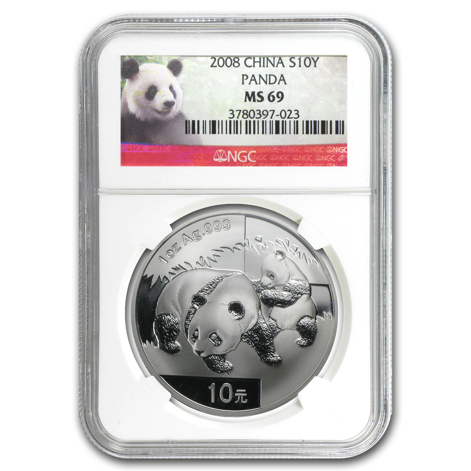2008 1 oz Silver Chinese Panda - MS-69 NGC
