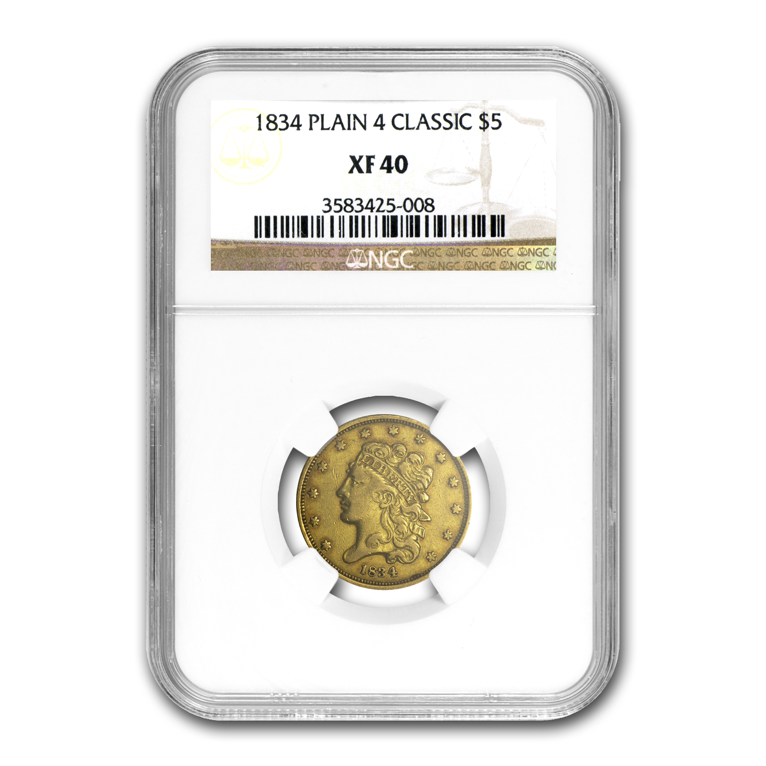1834 $5 Gold Classic Head Half Eagle Plain 4 XF-40 NGC