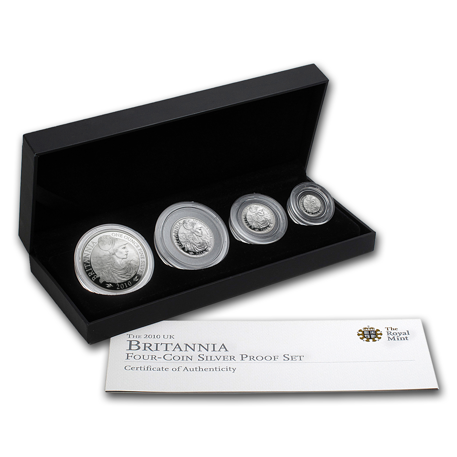 2010 GB 4-Coin Silver Britannia Proof Set (w/Box & COA)