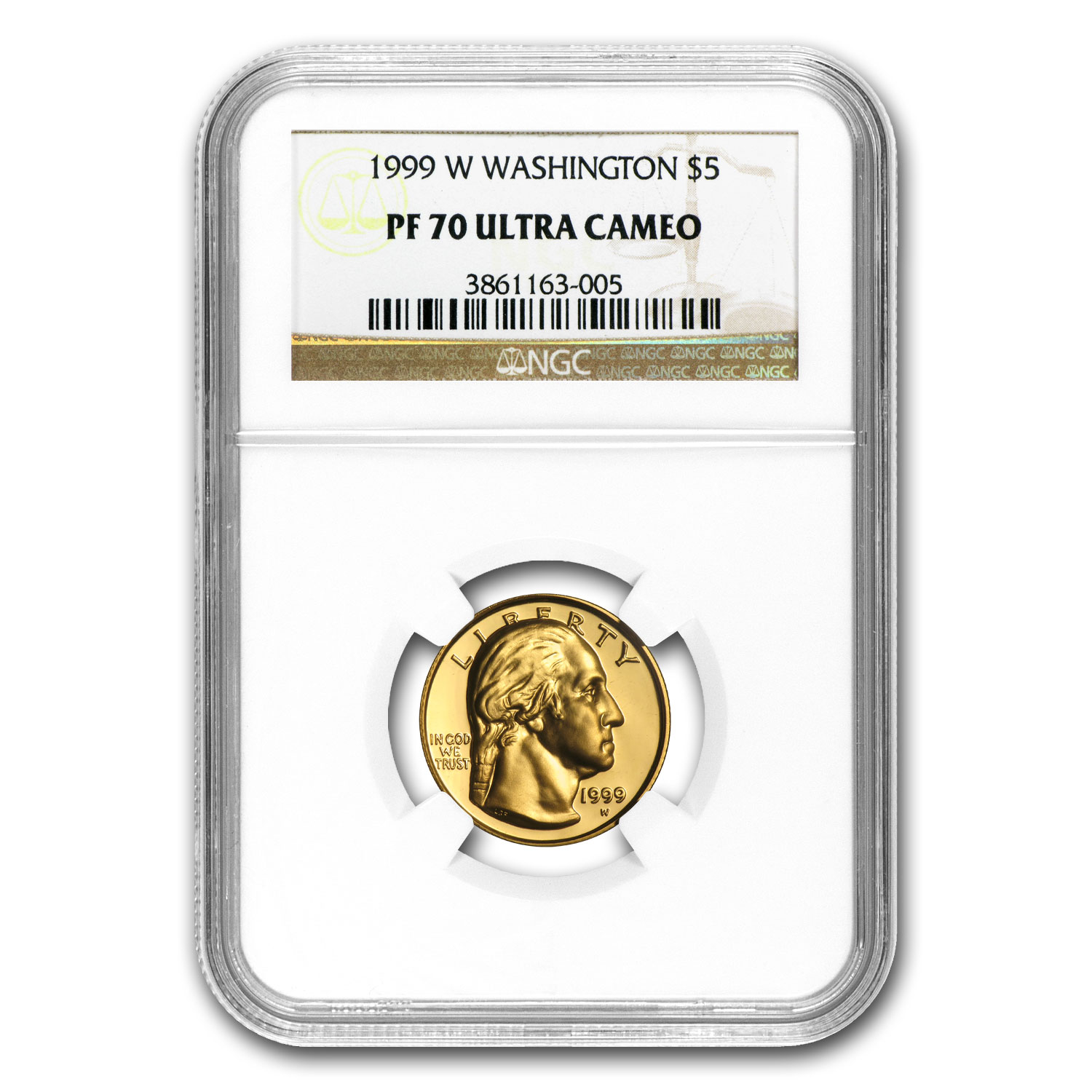 1999-W Gold $5 Commemorative George Washington PF-70 NGC