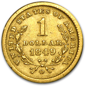 1849-O $1 Liberty Head Gold Small Head XF