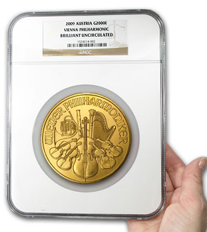 2009 Austria 20 oz Gold Philharmonic BU NGC (20th Ann)