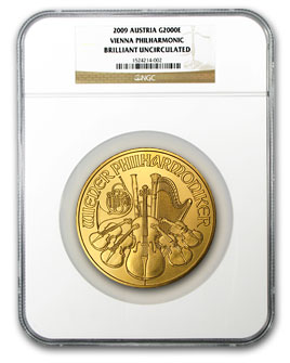 2009 20 oz Gold Austrian Philharmonic BU NGC (20th Ann)