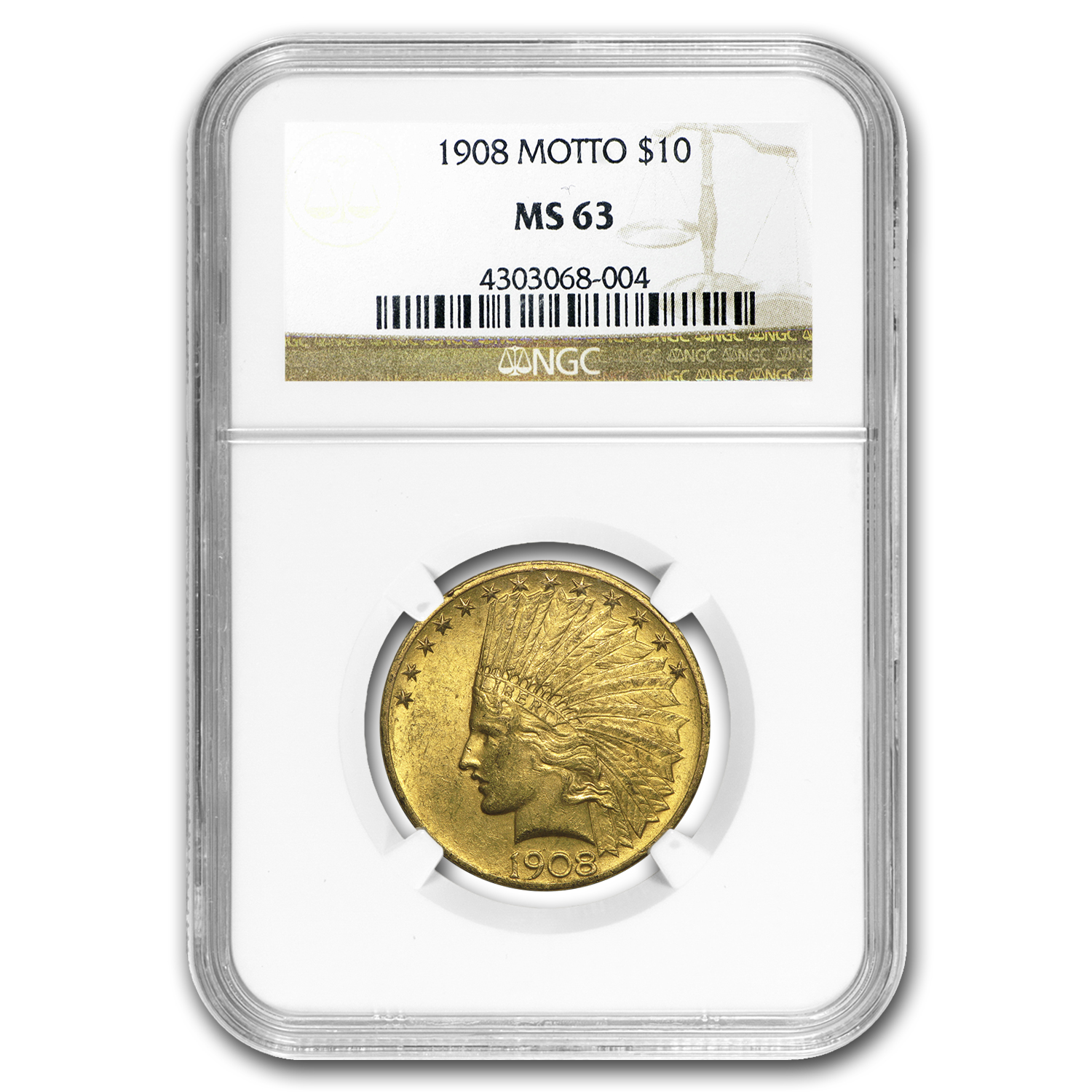1908 $10 Indian Gold Eagle w/Motto MS-63 NGC