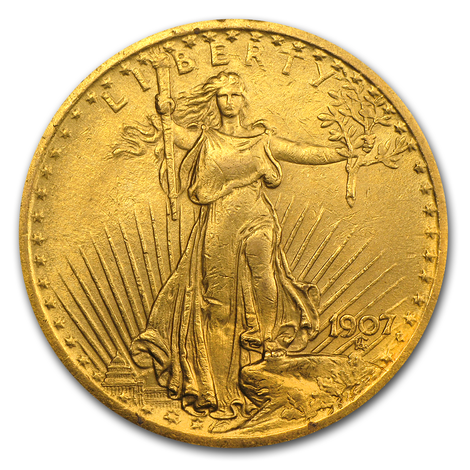 1907 $20 St. Gaudens Gold Double Eagle - Extra Fine