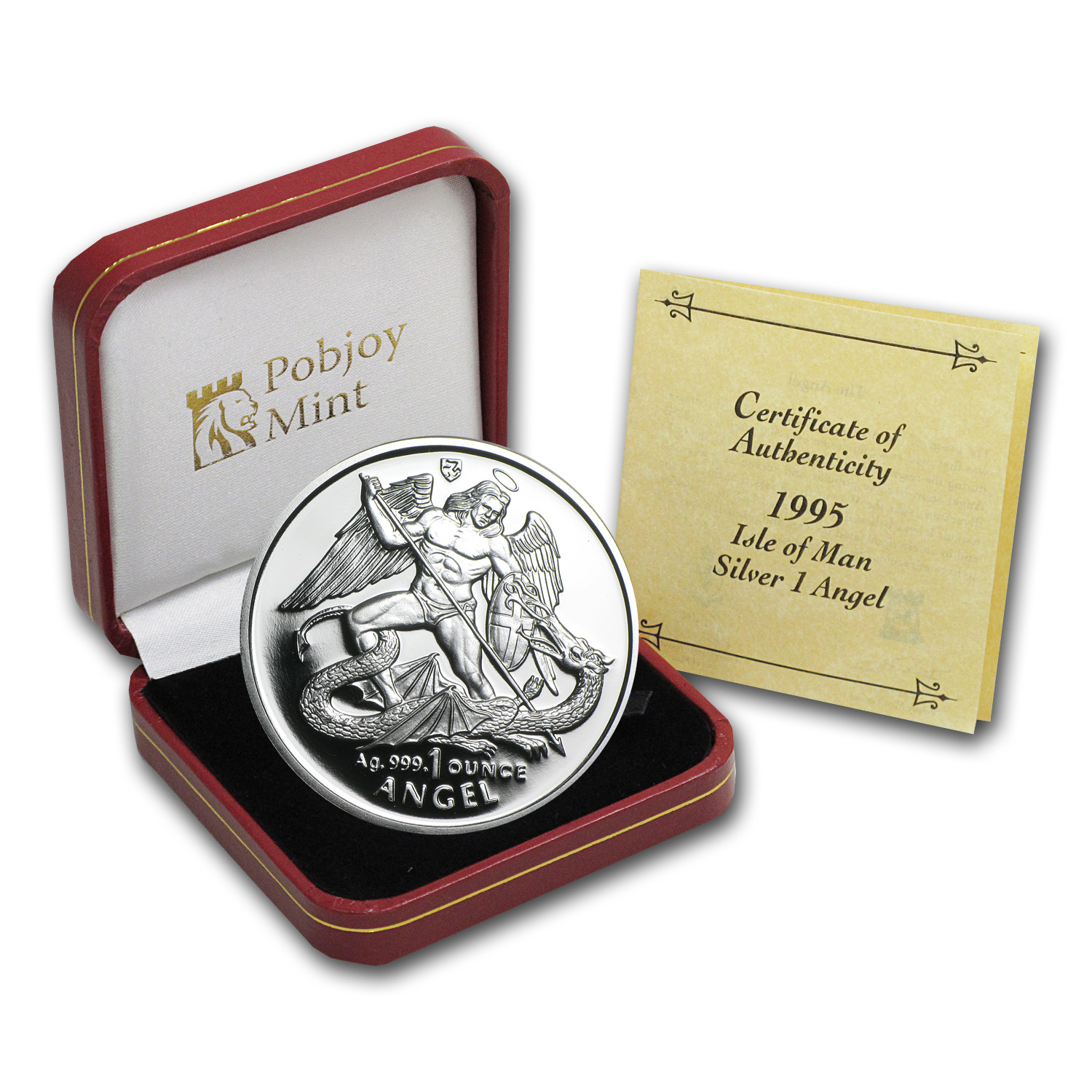 1995 Isle Of Man 1 Oz Silver Angel Proof Silver Amp Other
