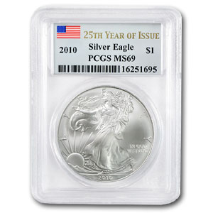 2010 Silver American Eagle - MS-69 PCGS - 25th Year of Issue
