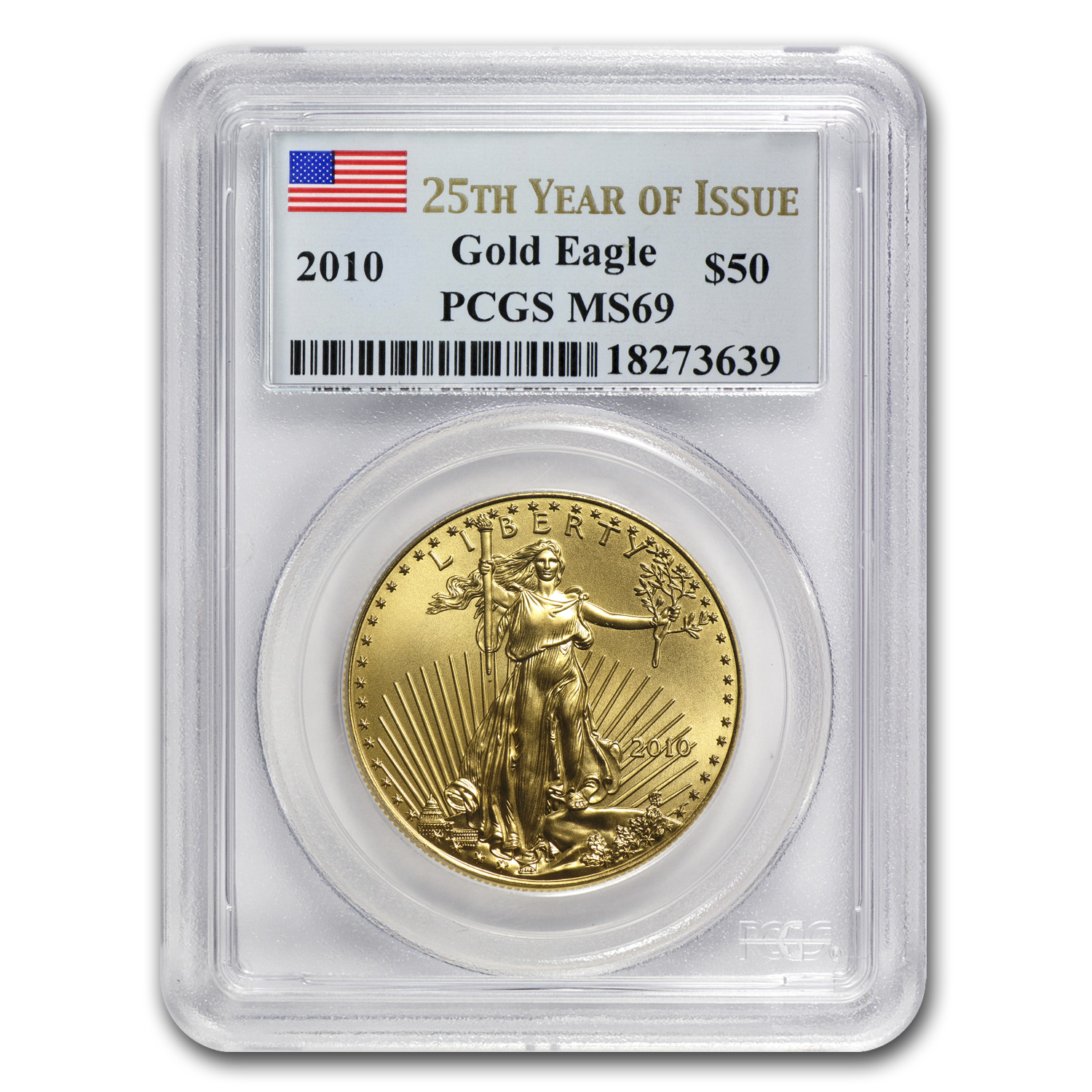 2010 1 oz Gold American Eagle MS-69 PCGS (25th Year of Issue)