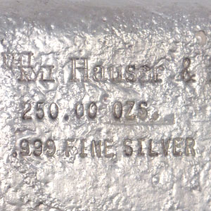 250 oz Silver Bar - Hauser & Miller Co. (Loaf-Style)