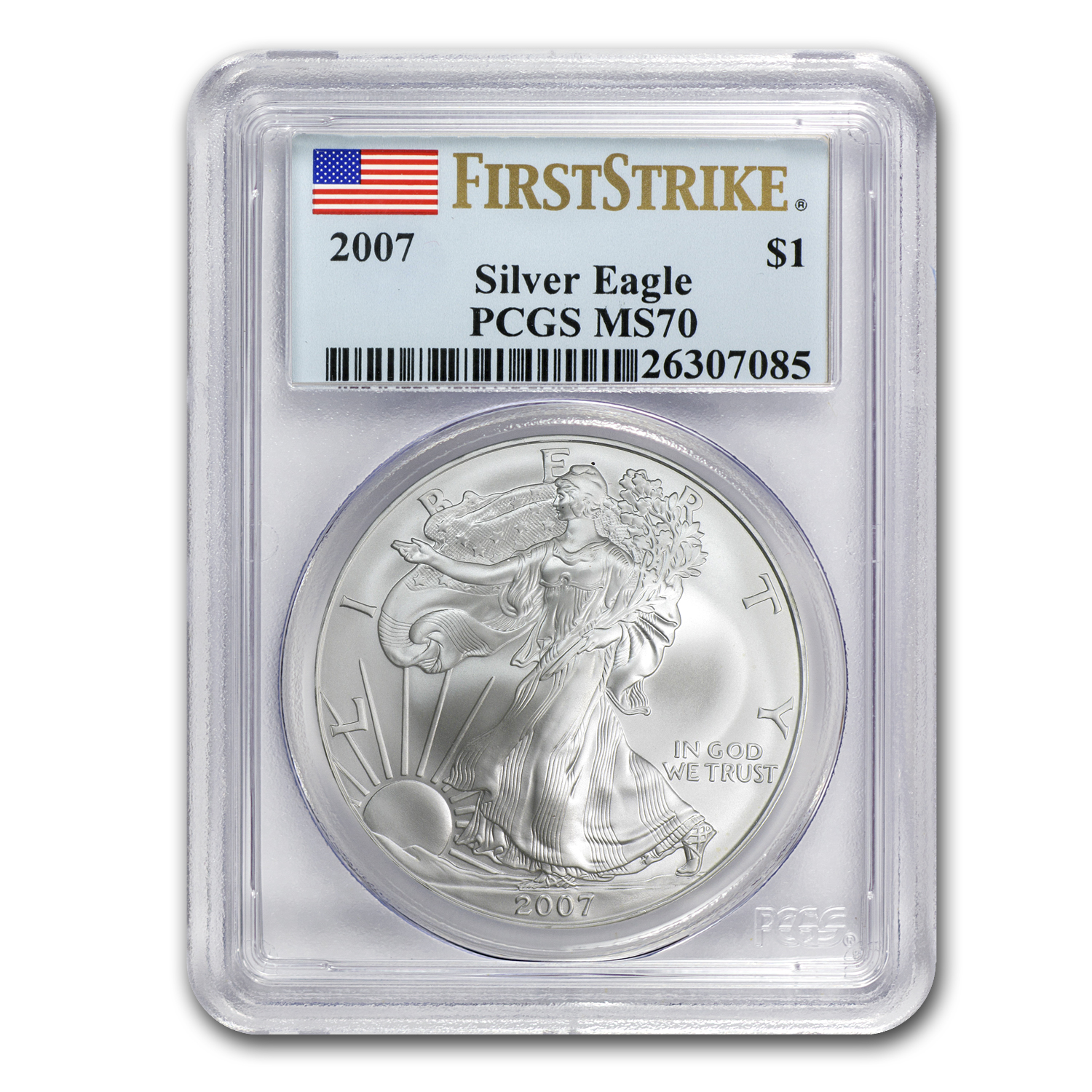 2007 Silver American Eagle MS-70 PCGS (1st Strike, Registry Set)