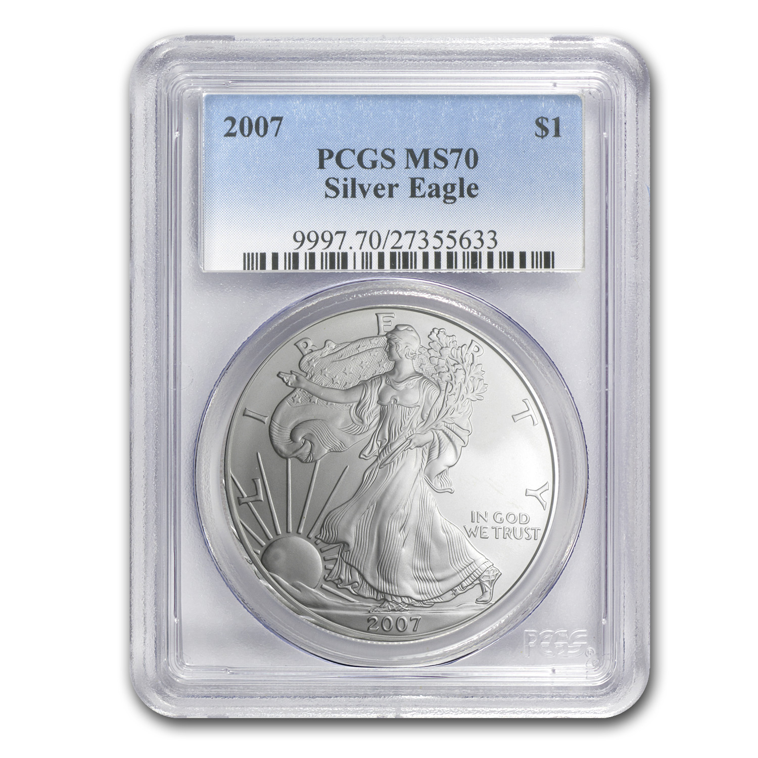 2007 Silver American Eagle - MS-70 PCGS - Registry Set Coin