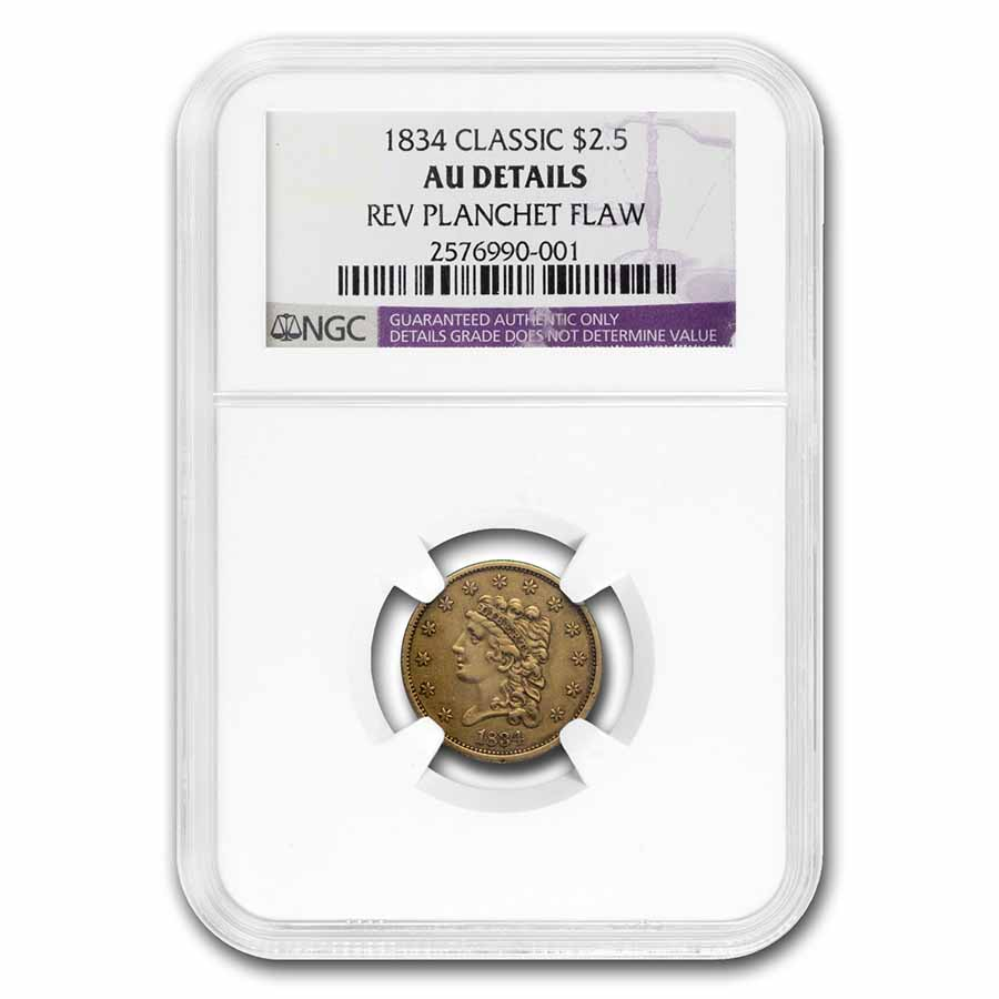 1834 $2.50 Gold Classic Head AU Details NGC (Cleaned)