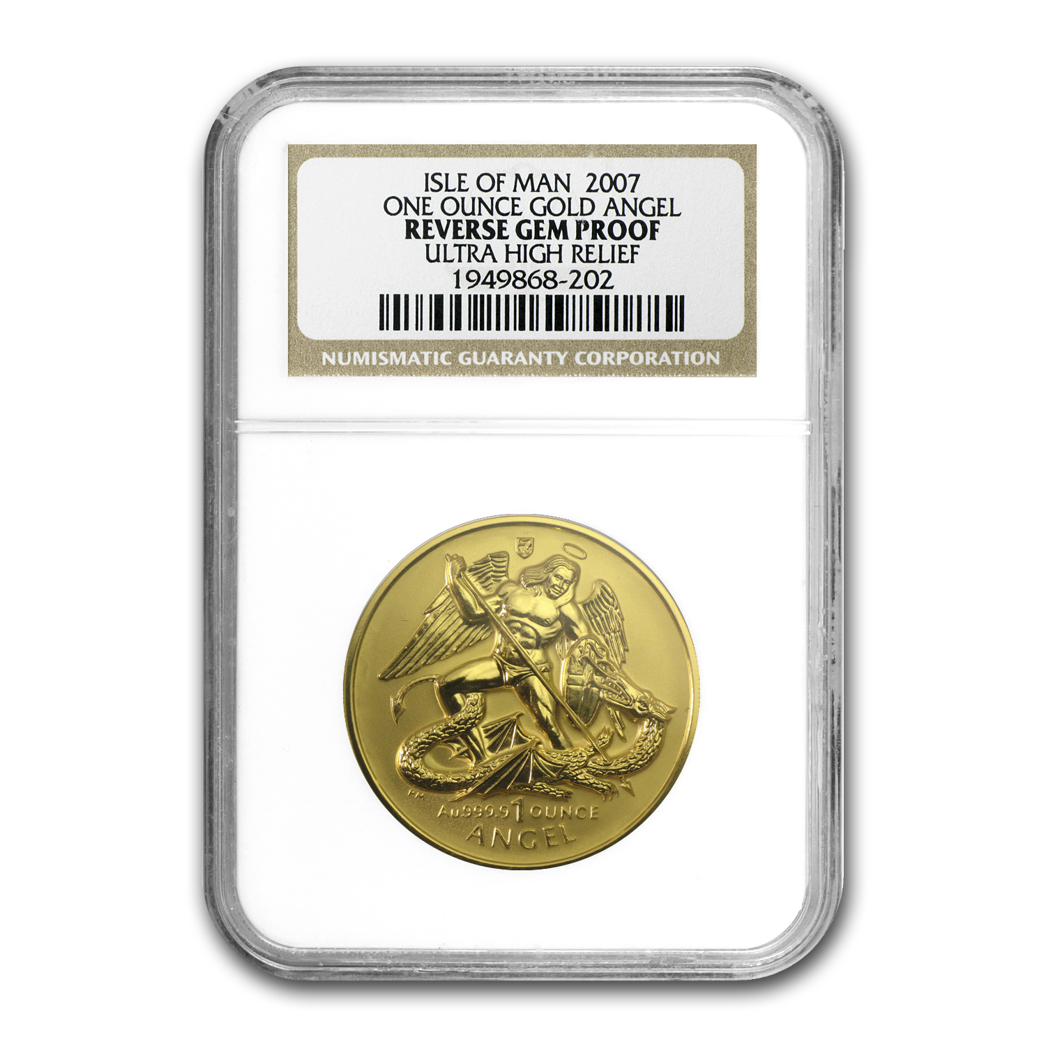 2007 Isle of Man 1 oz Reverse Proof Gold Angel UHR Gem NGC