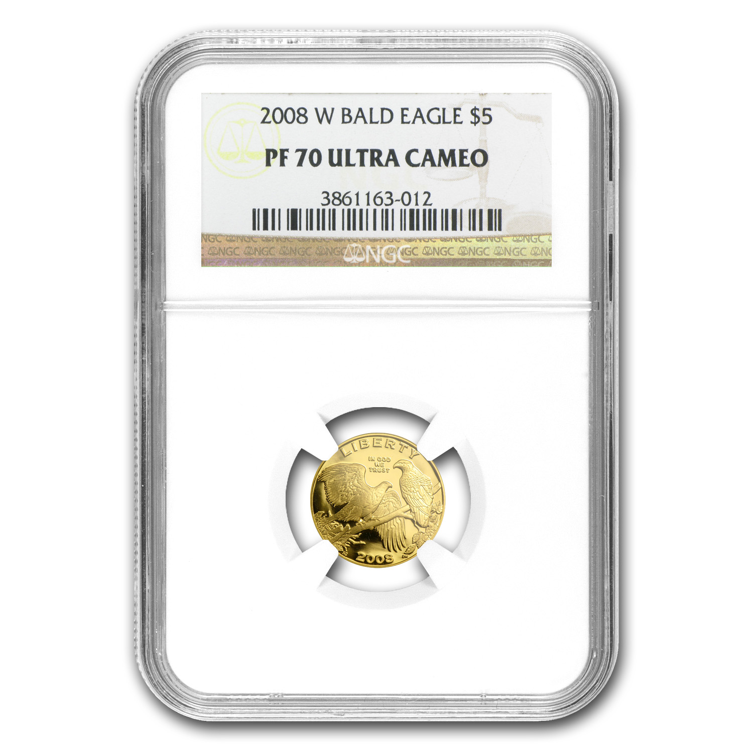 2008-W Gold $5 Commem Bald Eagle PF-70 NGC