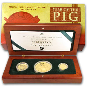 2007 Proof Gold Year of the Pig Lunar 3-Coin Set (Series I)