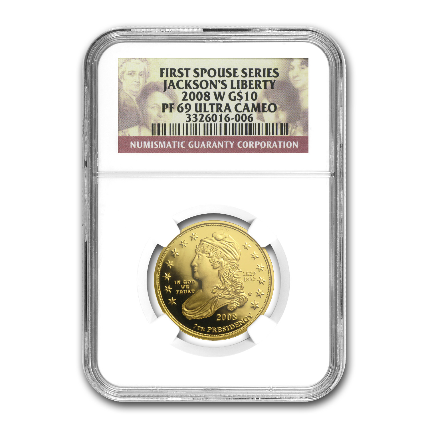 2008-W 1/2 oz Proof Gold Jackson's Liberty PF-69 NGC UCAM