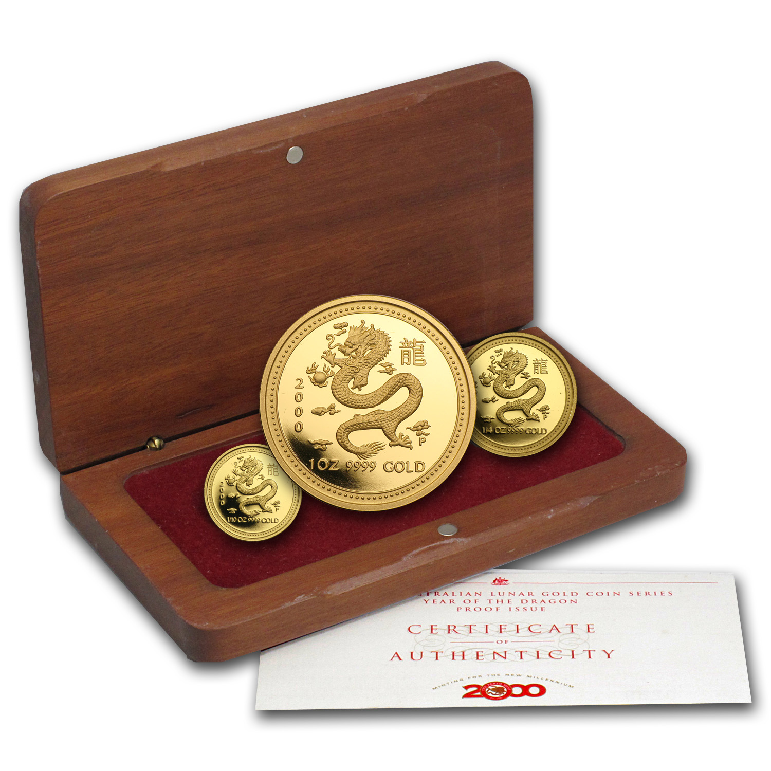 2000 Proof Gold Year of the Dragon Lunar 3-Coin Set (Series I)