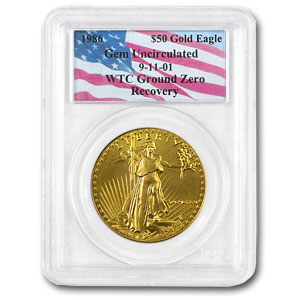 1986 1 oz Gold American Eagle Gem Unc. PCGS (World Trade Center)