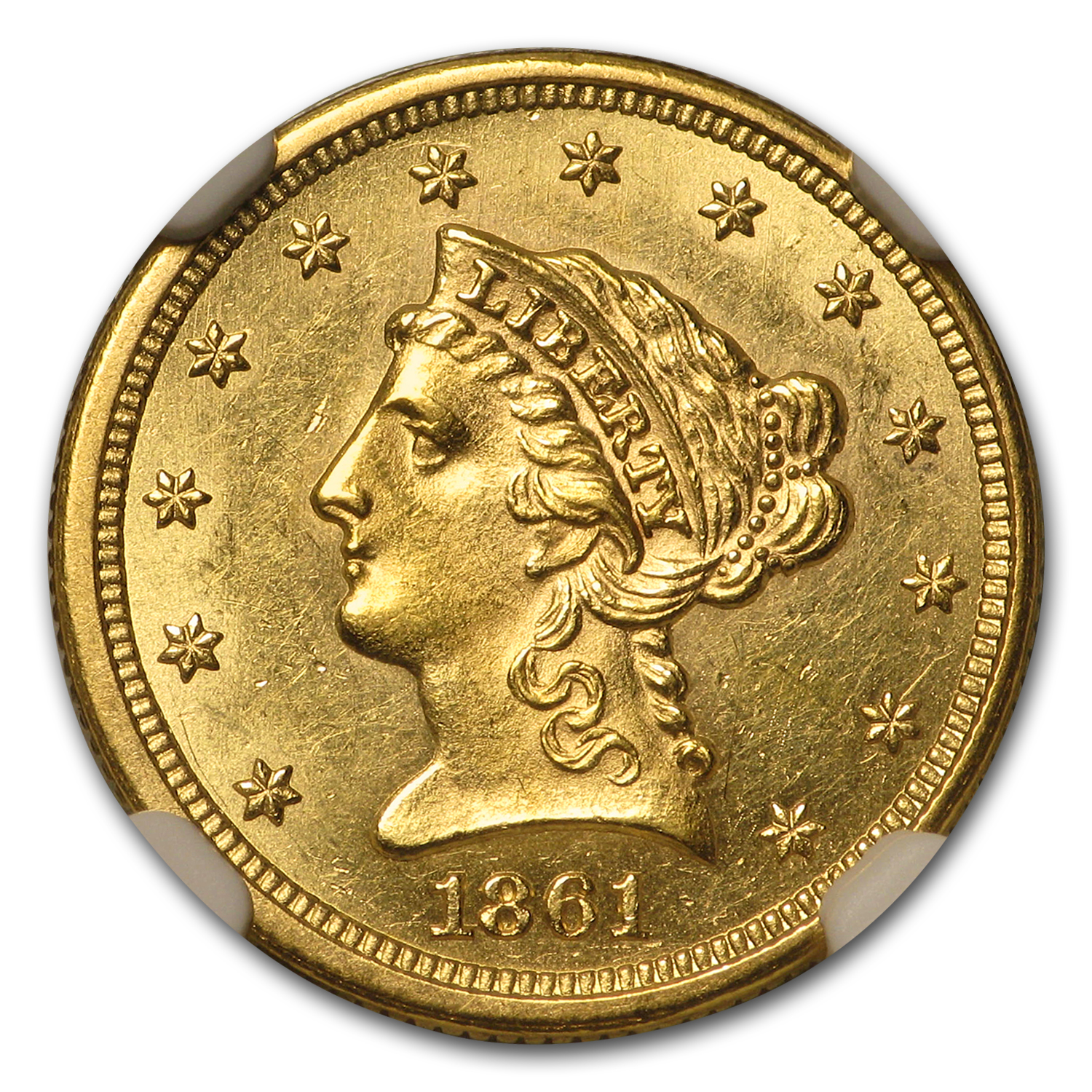 1861 $2.50 Liberty Gold Quarter Eagle - Type 2 Rev - MS-61 NGC