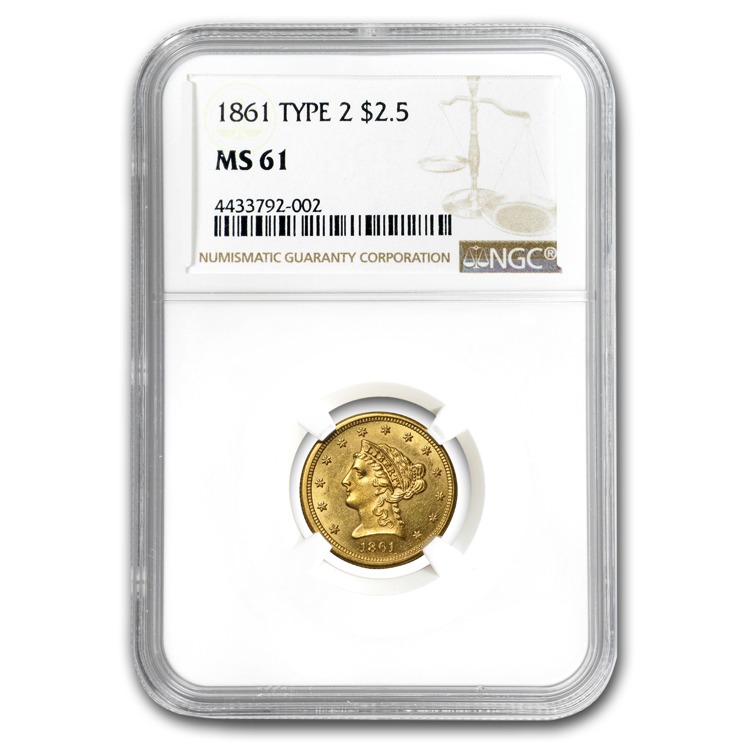 1861 $2.50 Liberty Gold Quarter Eagle Type 2 Rev MS-61 NGC