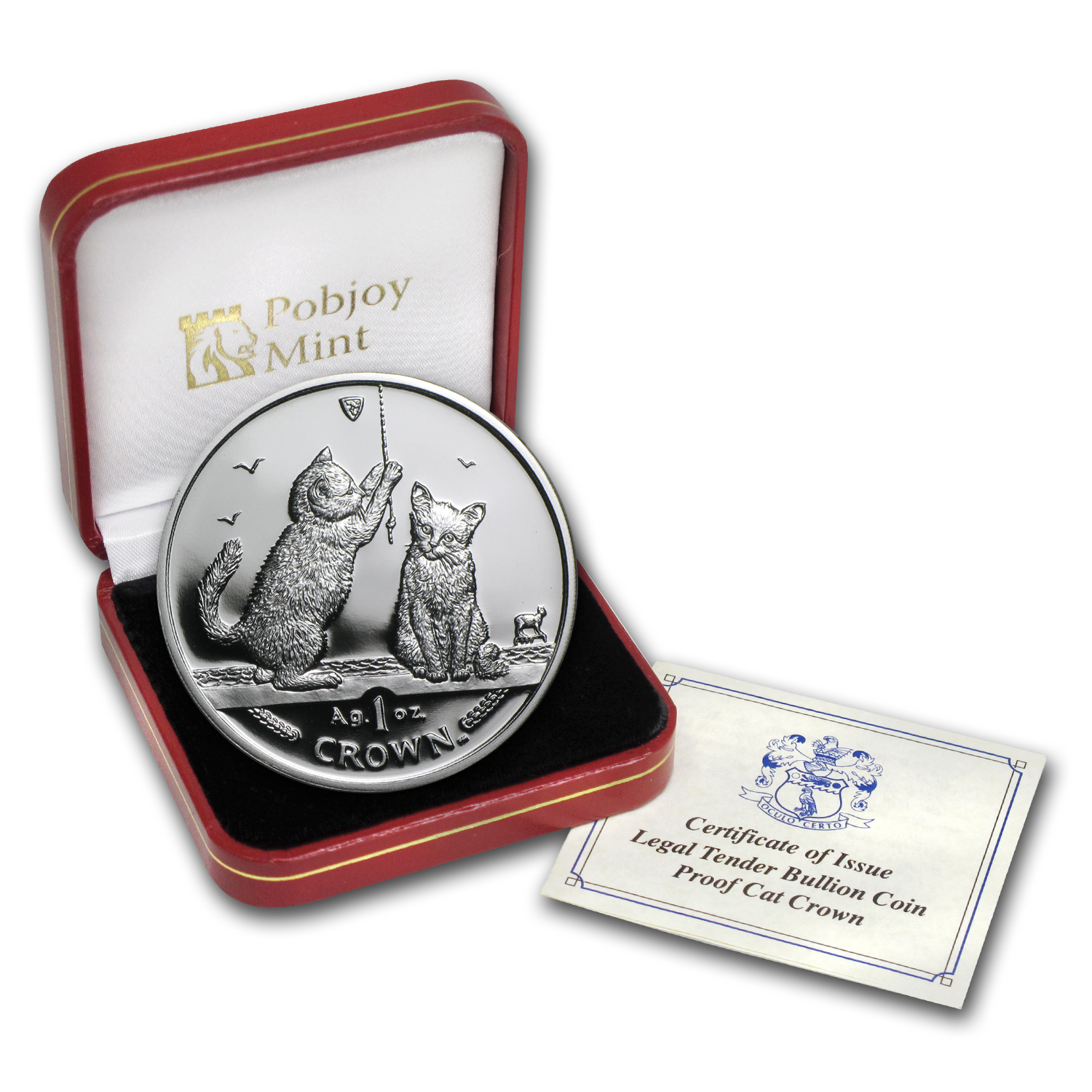 Isle of Man 2001 1 Crown Silver Proof Somali Kittens
