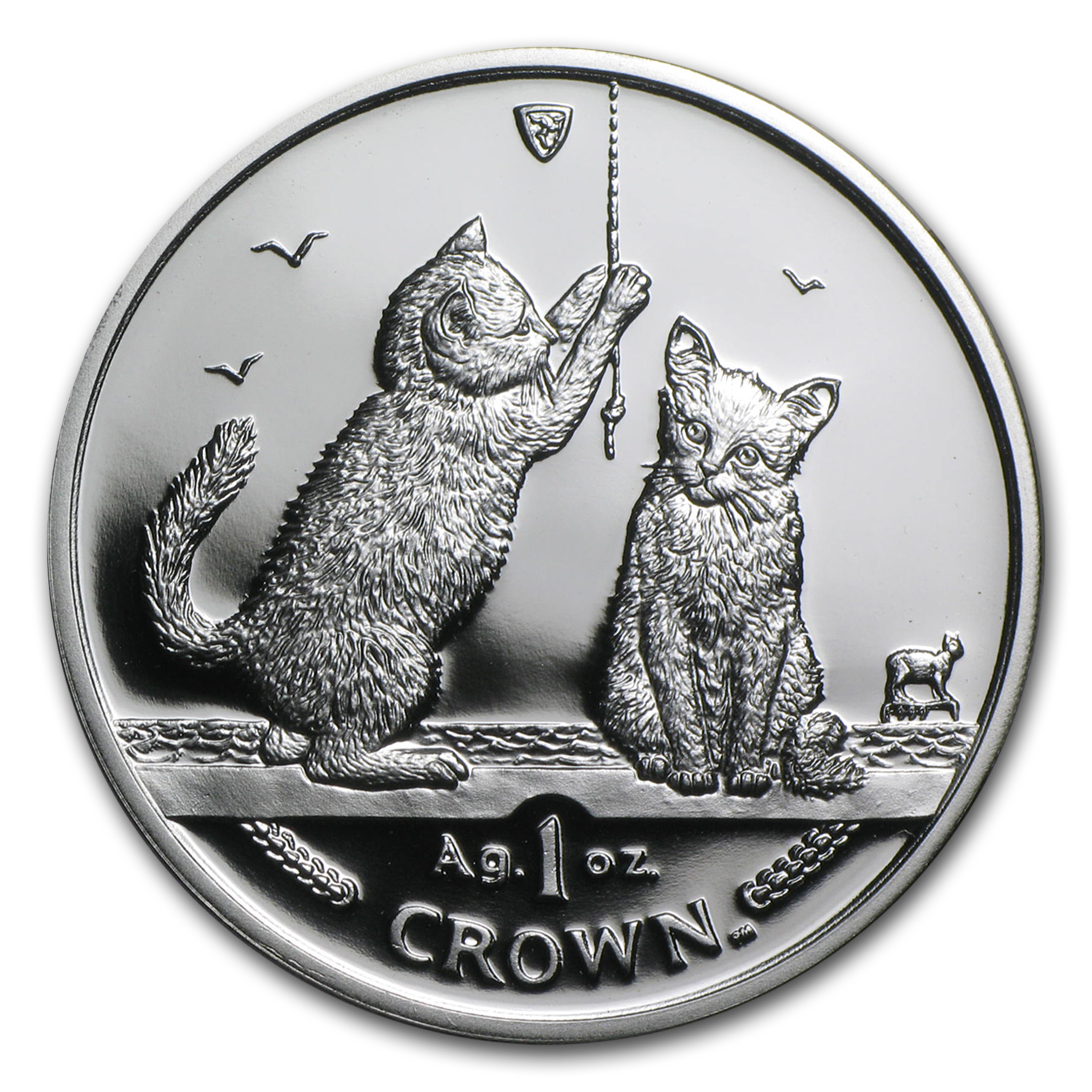 2001 Isle of Man 1 oz Silver Somali Kittens Proof