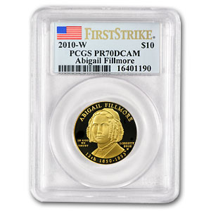 2010-W 1/2 oz Proof Gold Abigail Fillmore PR-70 DCAM (FS) PCGS