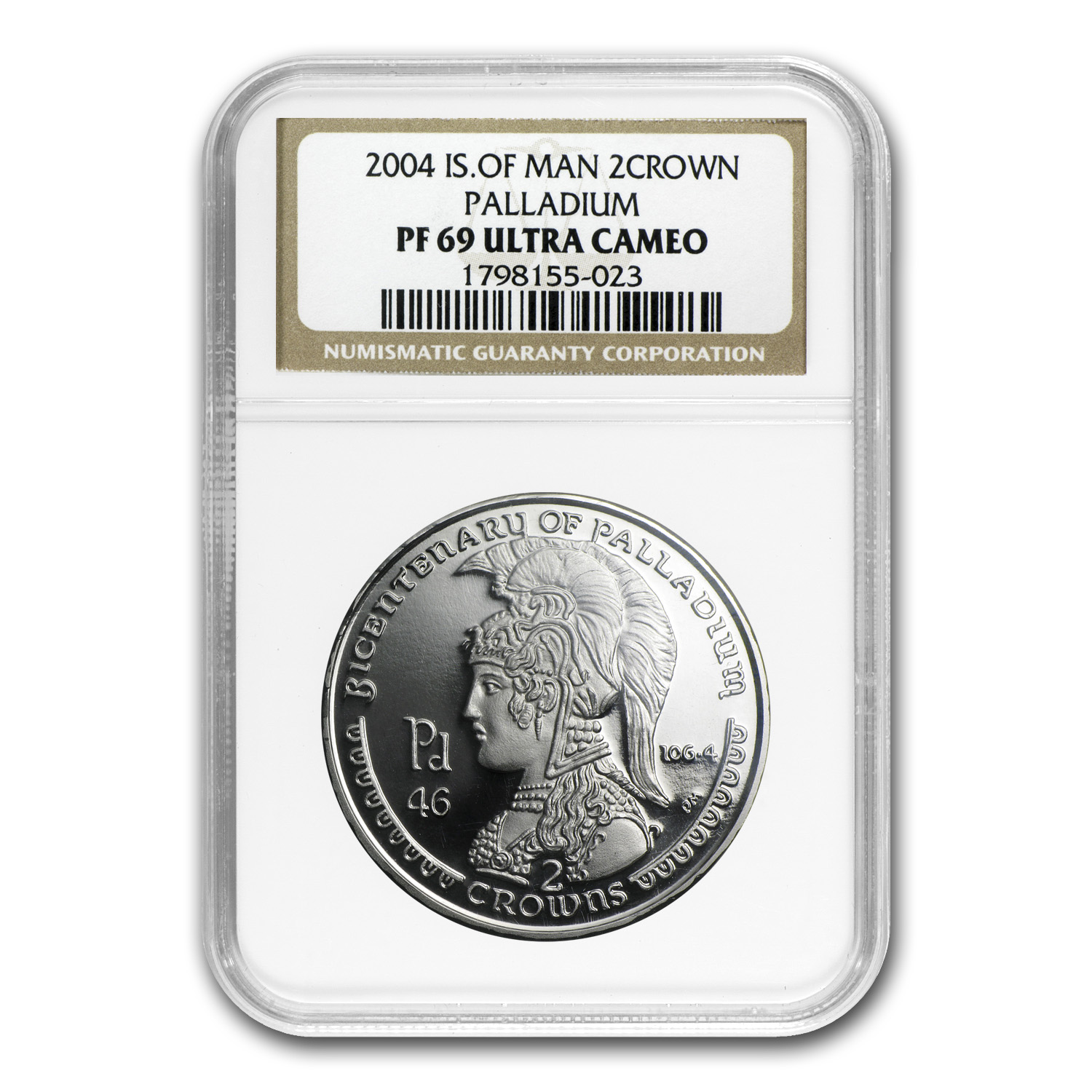 2004 2 oz Isle of Man Palladium 2 Crown PF-69 UCAM NGC