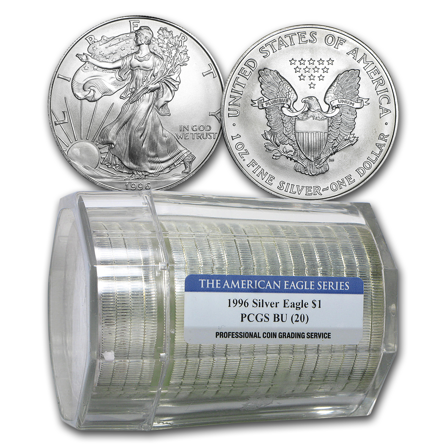 1996 Silver American Eagles 20-Coin Sealed PCGS Tube BU